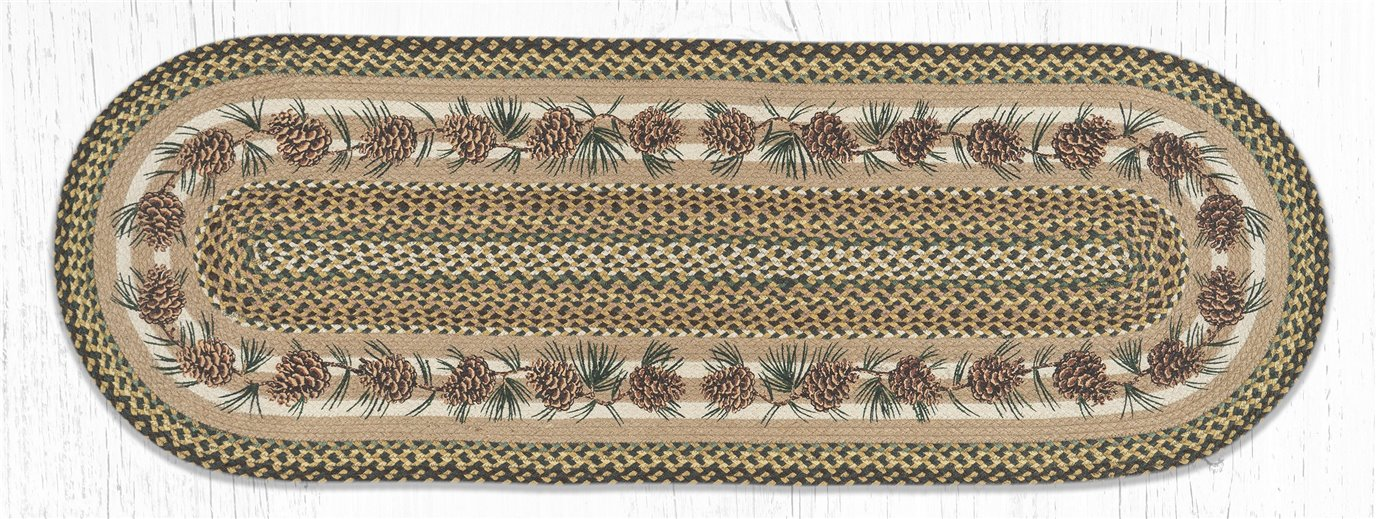 Needles & Cones Oval Braided Rug 2'x6'