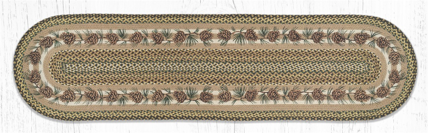 Needles & Cones Oval Braided Rug 2'x8'