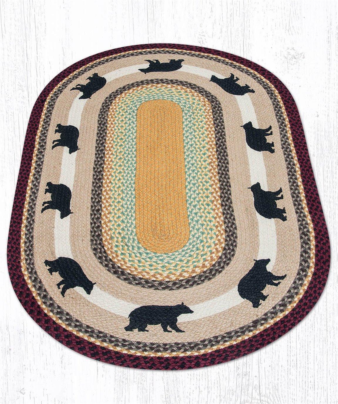 Cabin Bear Oval Braided Rug 3'x5'