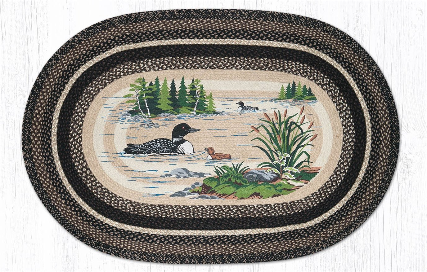 Loons Oval Braided Rug 4'x6'