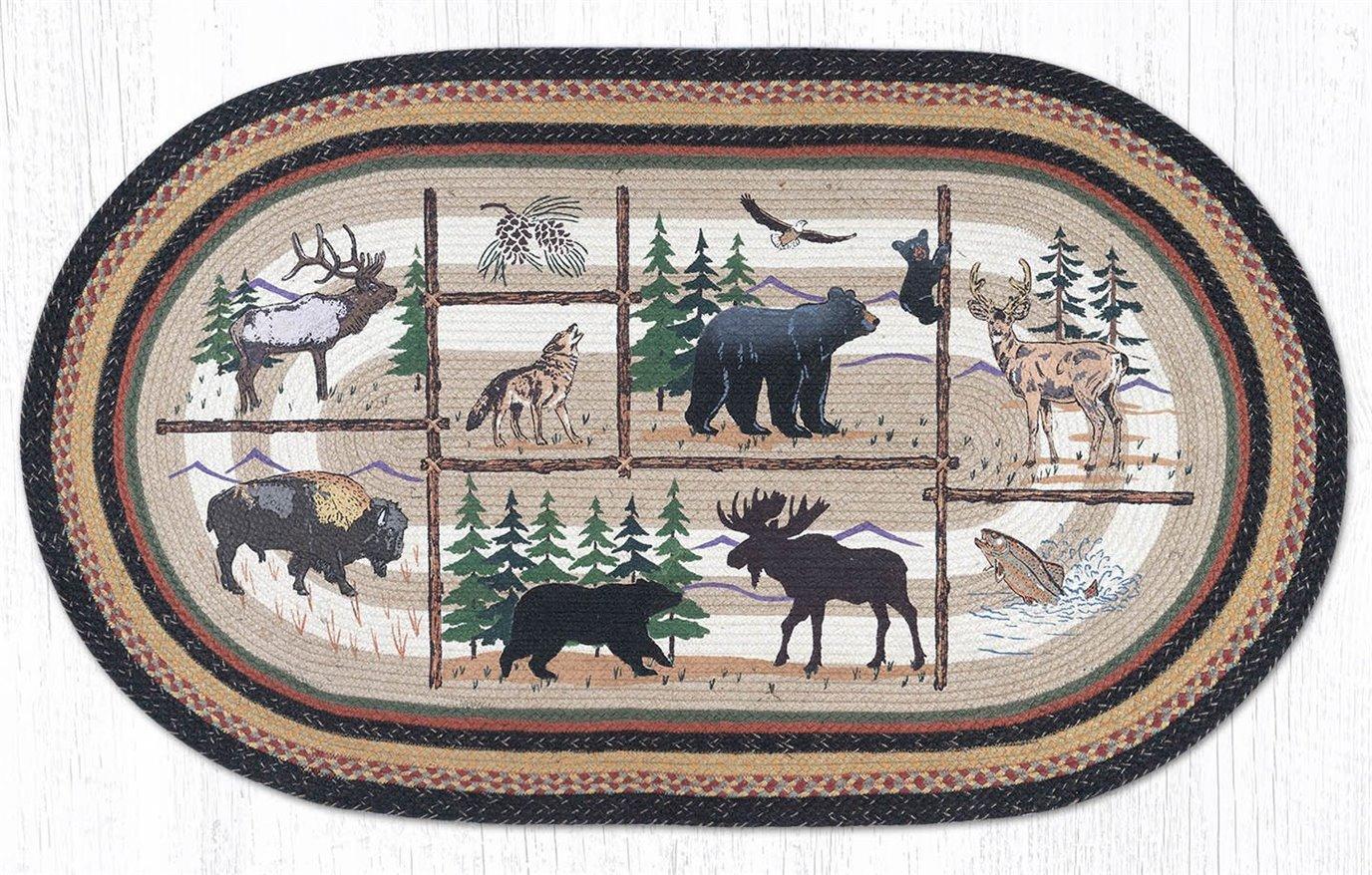 Lodge Animals Oval Braided Rug 4'x6'