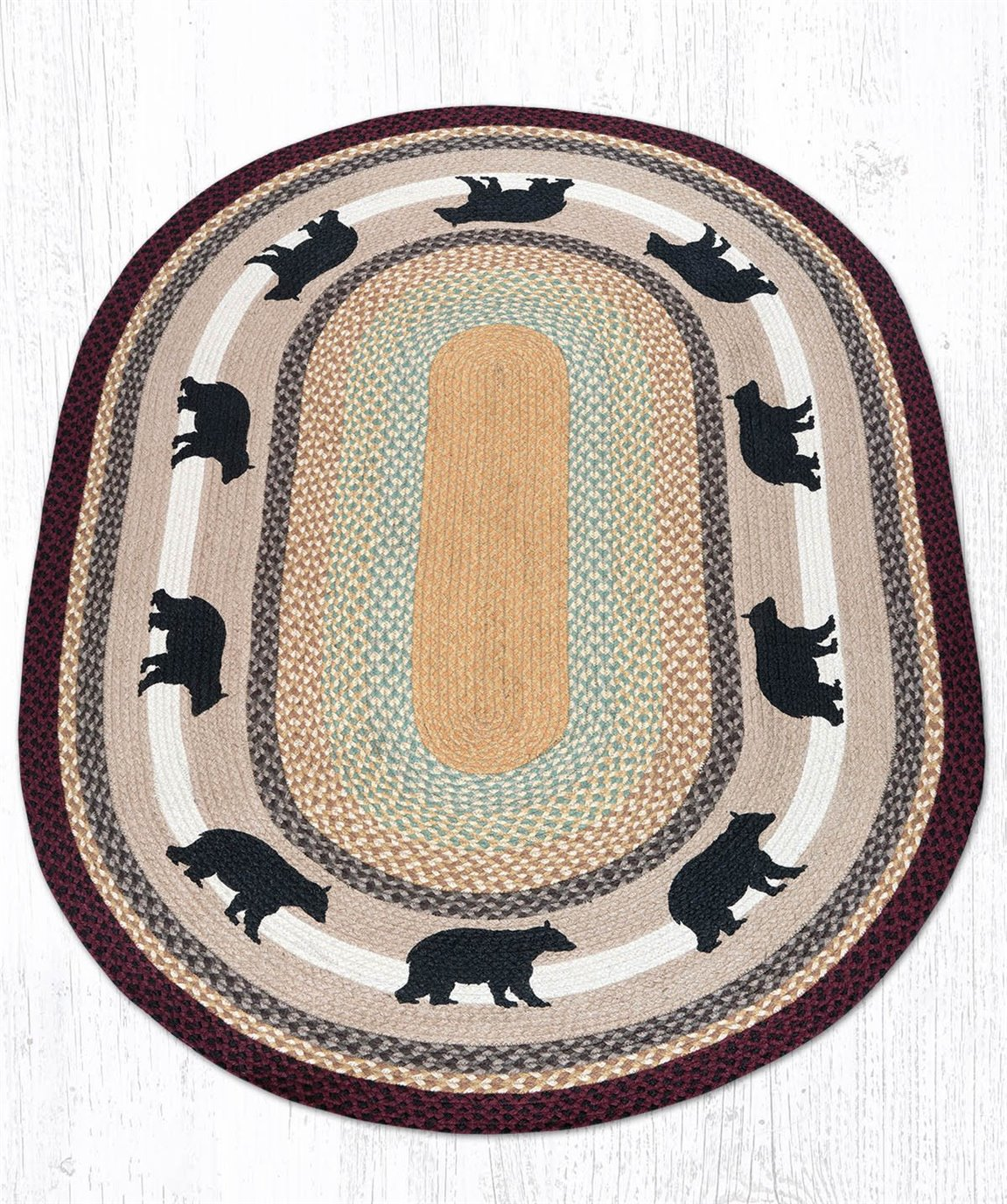 Cabin Bear Oval Braided Rug 4'x6'