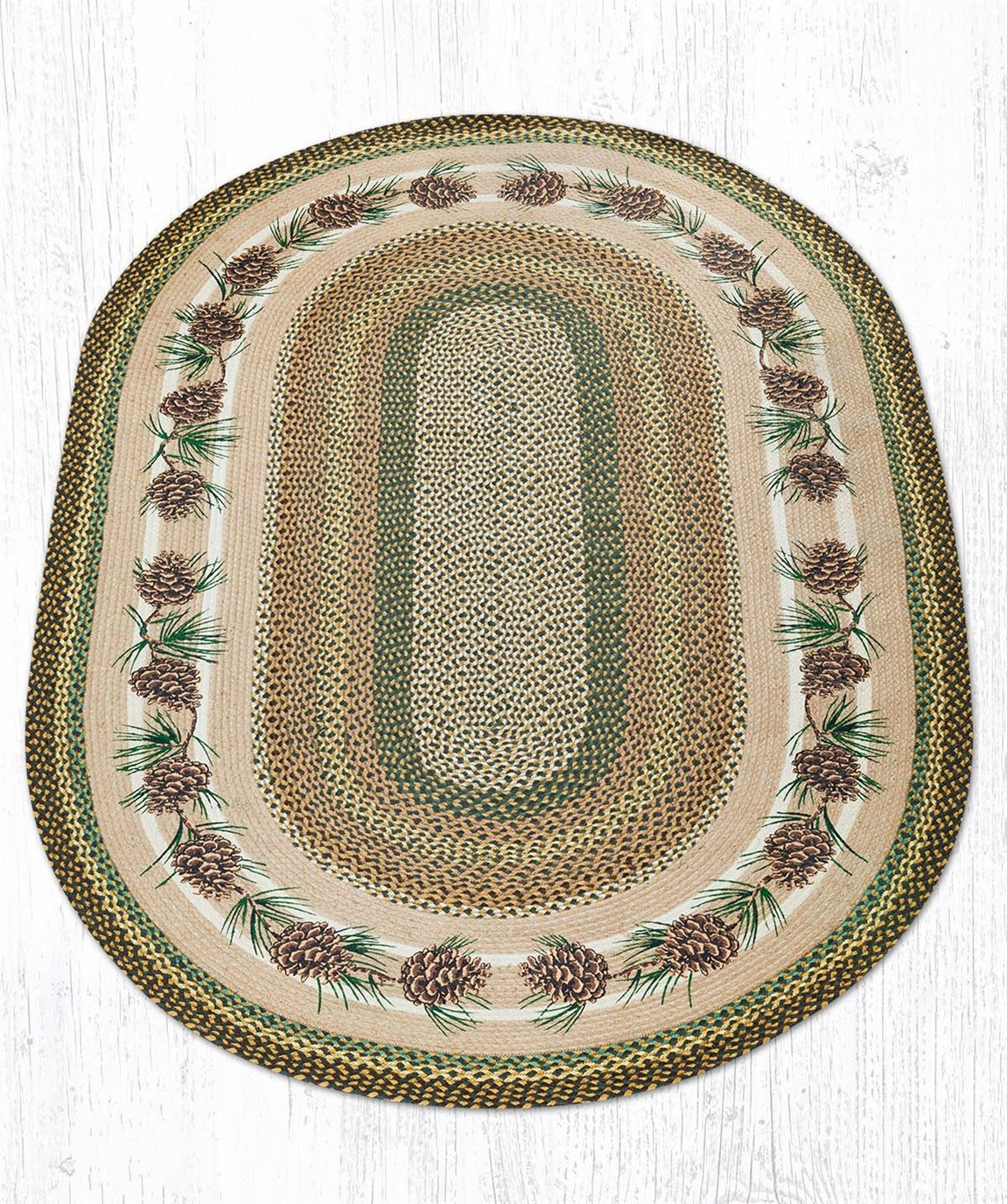 Needles & Cones Oval Braided Rug 5'x8'