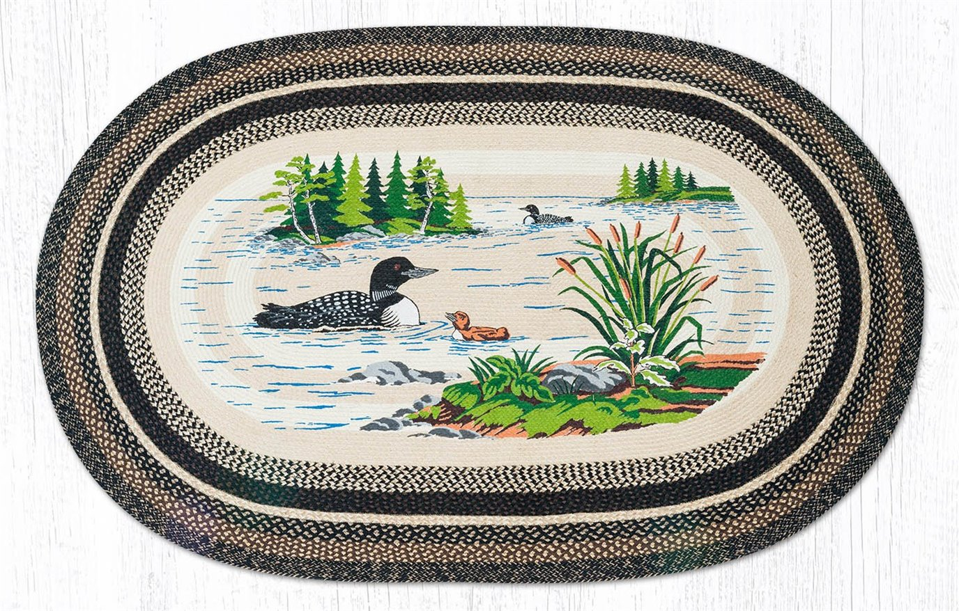 Loons Oval Braided Rug 5'x8'