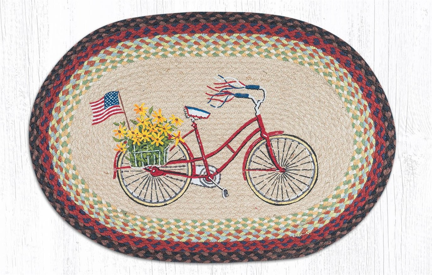 """Bicycle with Flag Oval Braided Rug 20""""x30"""""""