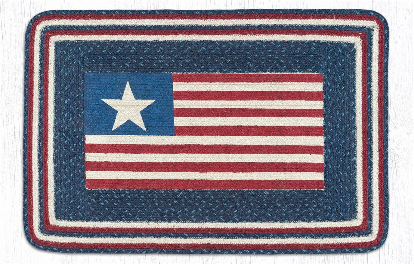 "American Flag Rectangular Braided Rug 20""x30"""