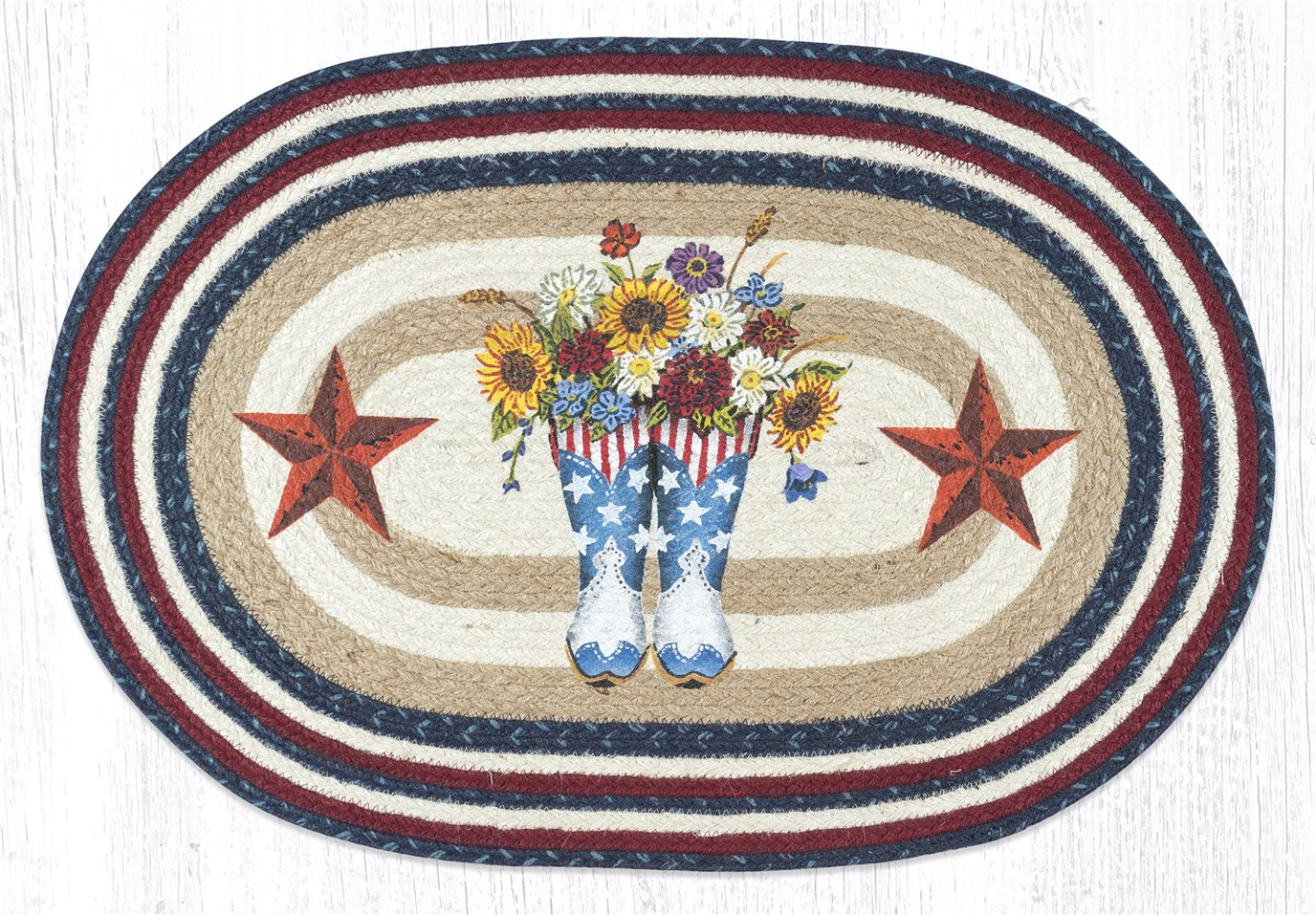 """American Boots with Barn Stars Oval Braided Rug 20""""x30"""""""