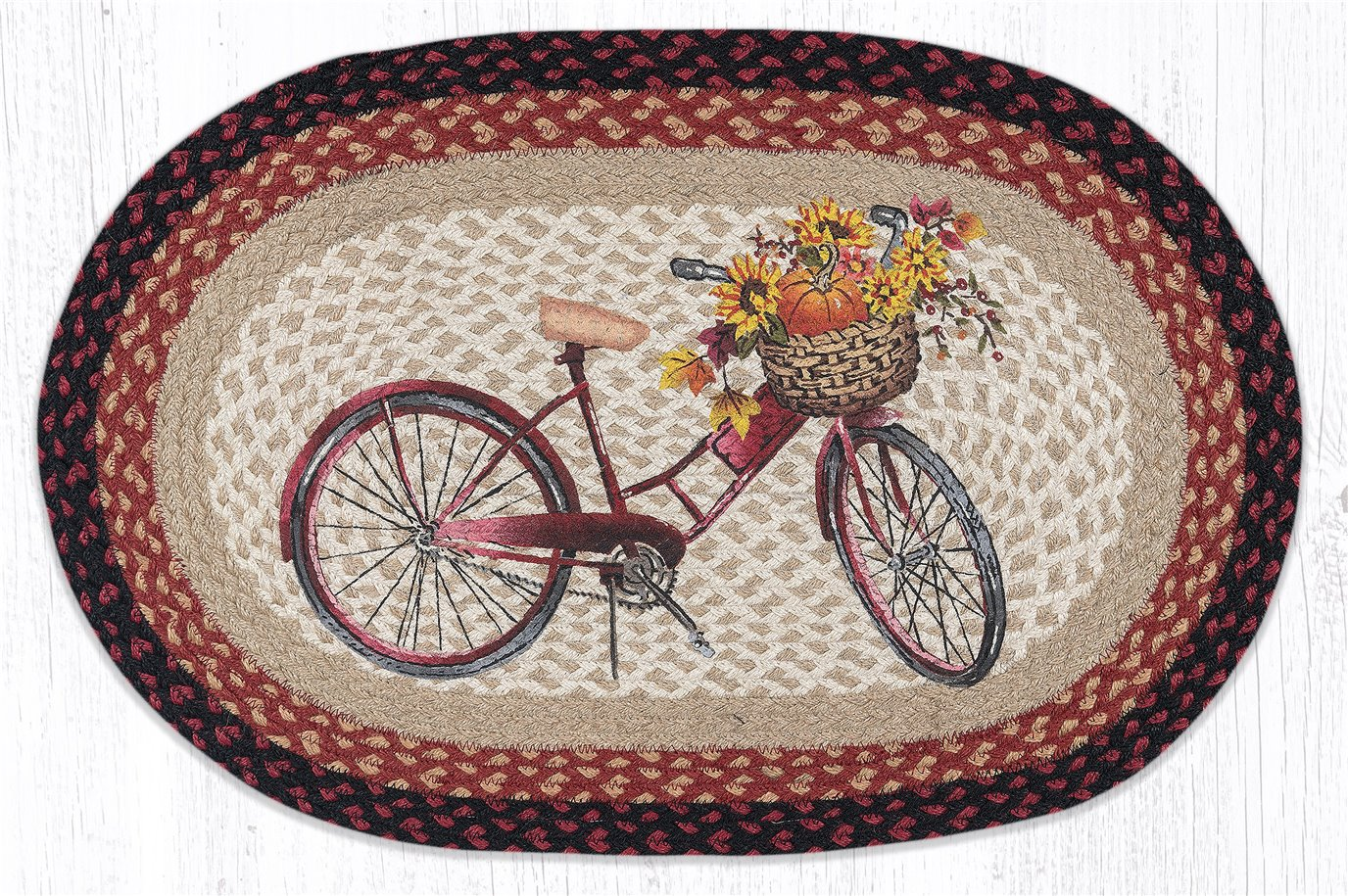 """Red Bicycle Oval Braided Rug 20""""x30"""""""