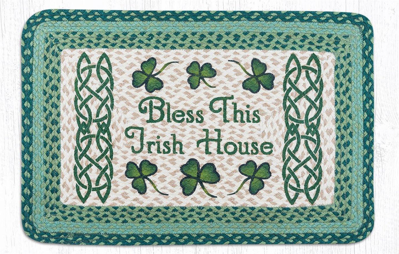 """Bless This Irish House Rectangular Braided Rug 20""""x30"""""""
