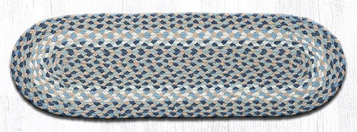 """Blue/Natural Oval Braided Stair Tread 27""""x8.25"""""""