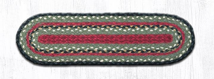 """Burgundy/Olive/Charcoal Oval Braided Stair Tread 27""""x8.25"""""""