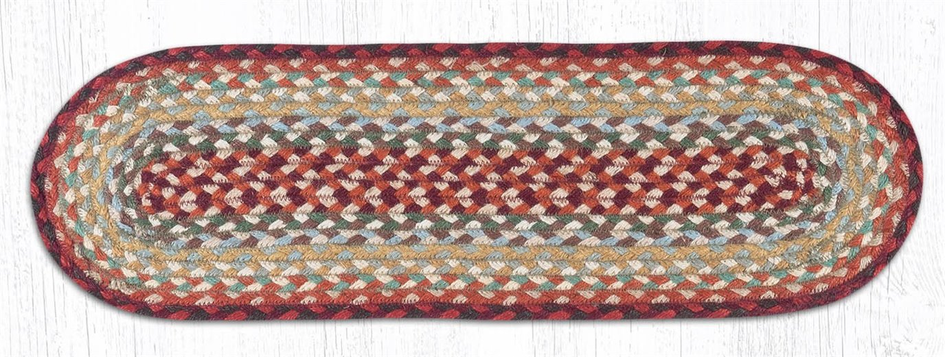 """Thistle Green/Country Red Oval Braided Stair Tread 27""""x8.25"""""""