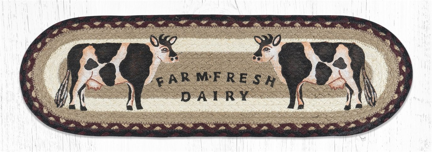 """Farmhouse Cow Oval Braided Stair Tread 27""""x8.25"""""""
