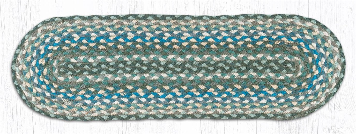 """Sage/Ivory/Settlers Blue Oval Braided Stair Tread 27""""x8.25"""""""