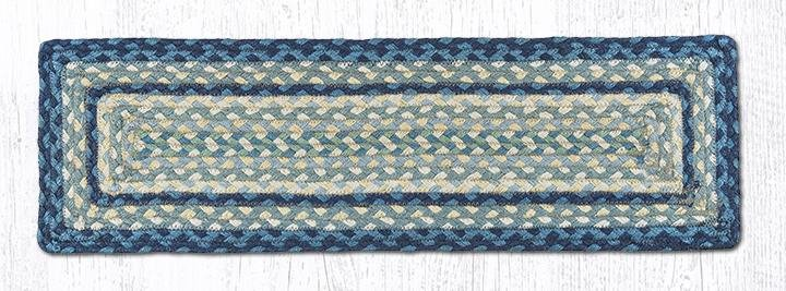 """Breezy Blue/Taupe/Ivory Rectangle Braided Stair Tread 27""""x8.25"""""""