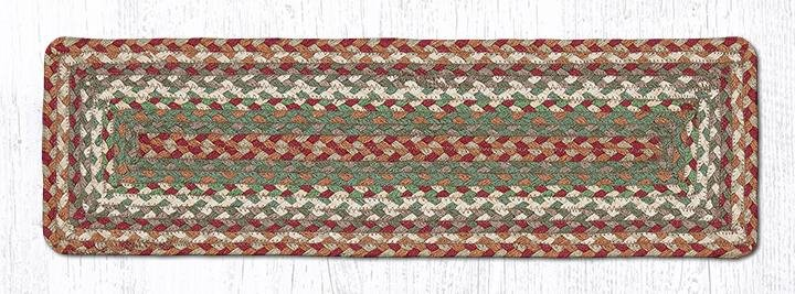 """Buttermilk/Cranberry Rectangle Braided Stair Tread 27""""x8.25"""""""