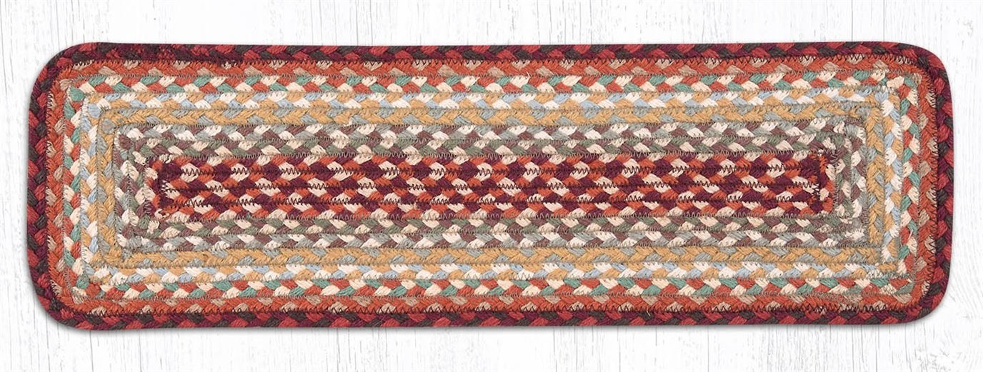 """Thistle Green/Country Red Rectangle Braided Stair Tread 27""""x8.25"""""""