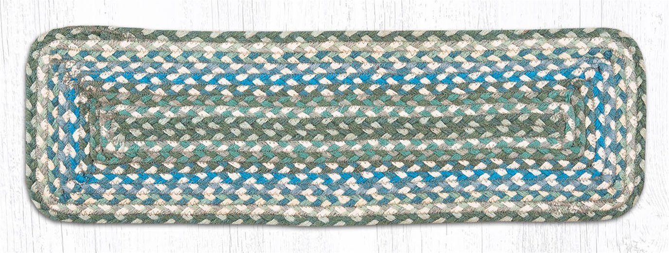"""Sage/Ivory/Settlers Blue Rectangle Braided Stair Tread 27""""x8.25"""""""