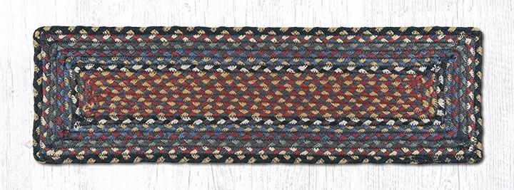 "Burgundy/Blue/Gray Rectangle Braided Stair Tread 27""x8.25"""