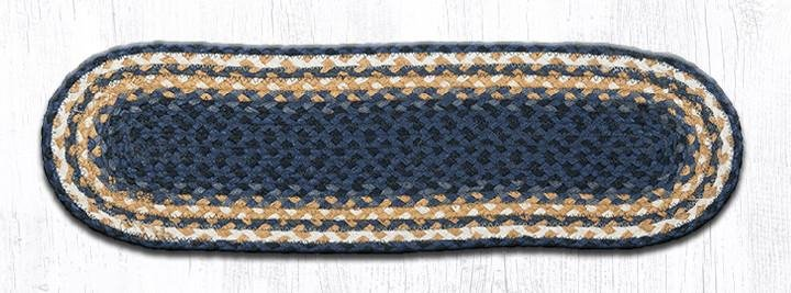 "Lt. Blue/Dk. Blue/Mustard Oval Braided Stair Tread 27""x8.25"""