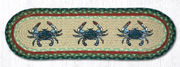 "Blue Crab Oval Braided Stair Tread 27""x8.25"""