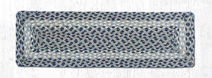 """Blue/Natural Rectangle Braided Stair Tread 27""""x8.25"""""""