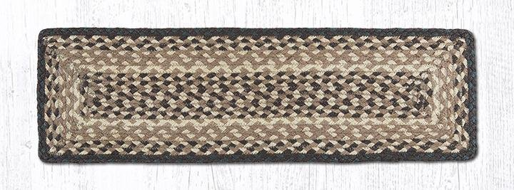 """Chocolate/Natural Rectangle Braided Stair Tread 27""""x8.25"""""""