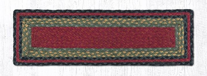 """Burgundy/Olive/Charcoal Rectangle Braided Stair Tread 27""""x8.25"""""""