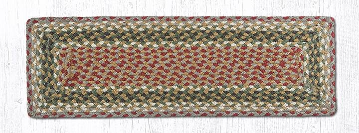 """Olive/Burgundy/Gray Rectangle Braided Stair Tread 27""""x8.25"""""""