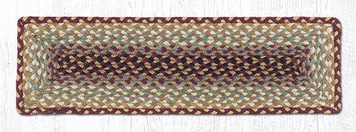 "Burgundy/Gray/Cream/Mustard Rectangle Braided Stair Tread 27""x8.25"""
