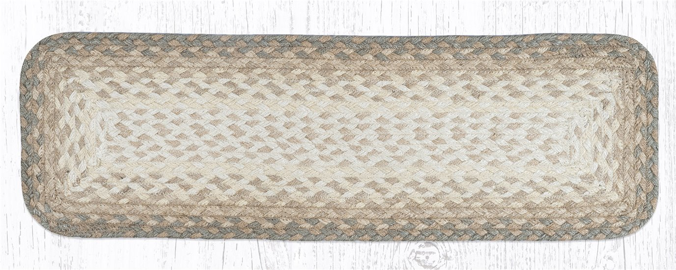"""Natural Rectangle Braided Stair Tread 27""""x8.25"""""""