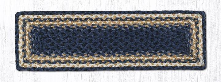 "Lt. Blue/Dk. Blue/Mustard Rectangle Braided Stair Tread 27""x8.25"""