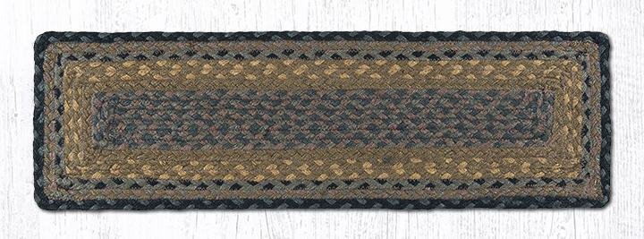 """Brown/Black/Charcoal Rectangle Braided Stair Tread 27""""x8.25"""""""