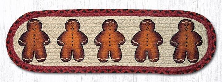 "Gingerbread Men Oval Braided Stair Tread 27""x8.25"""