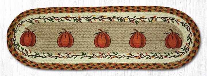 "Harvest Pumpkin Oval Braided Stair Tread 27""x8.25"""