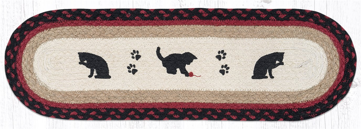 """Cat and Kitten Oval Braided Stair Tread 27""""x8.25"""""""