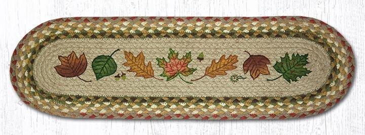 "Autumn Leaves Oval Braided Stair Tread 27""x8.25"""