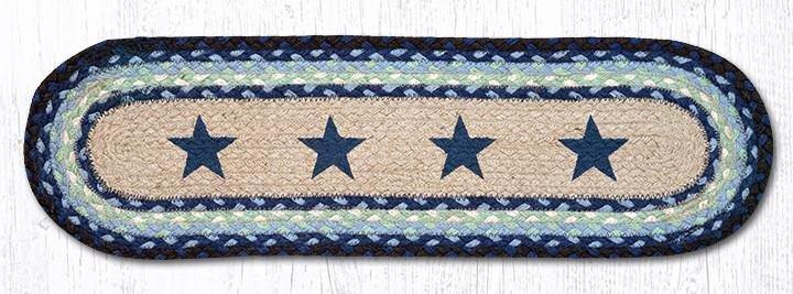 "Blue Stars Oval Braided Stair Tread 27""x8.25"""