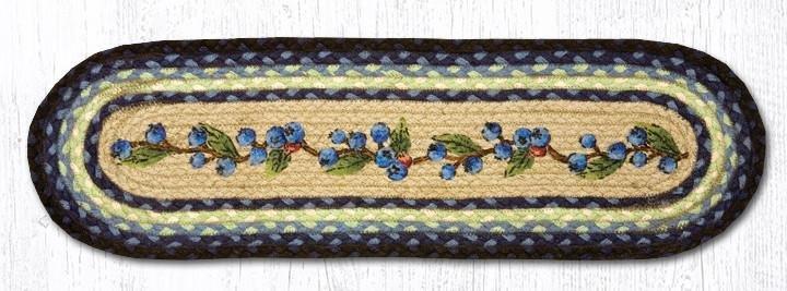 "Blueberry Vine Oval Braided Stair Tread 27""x8.25"""