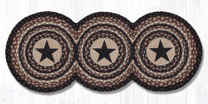 "Black Stars Printed Tri Circle Runner 15""x36"""