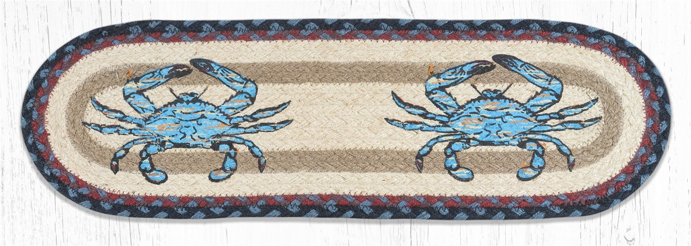 "Fresh Blue Crab Oval Braided Stair Tread 27""x8.25"""