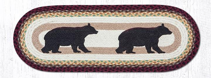"Cabin Bear Oval Braided Table Runner 13""x36"""