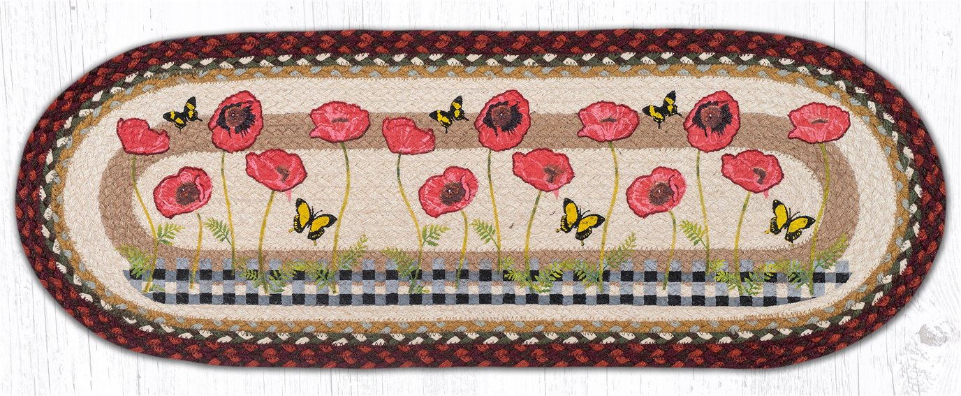 """Poppies with Black Check Oval Braided Table Runner 13""""x36"""""""