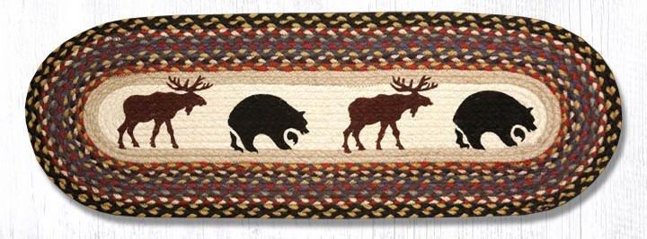 "Bear/Moose Oval Braided Table Runner 13""x36"""