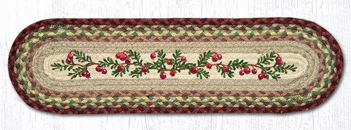 """Cranberries Oval Braided Stair Tread 27""""x8.25"""""""