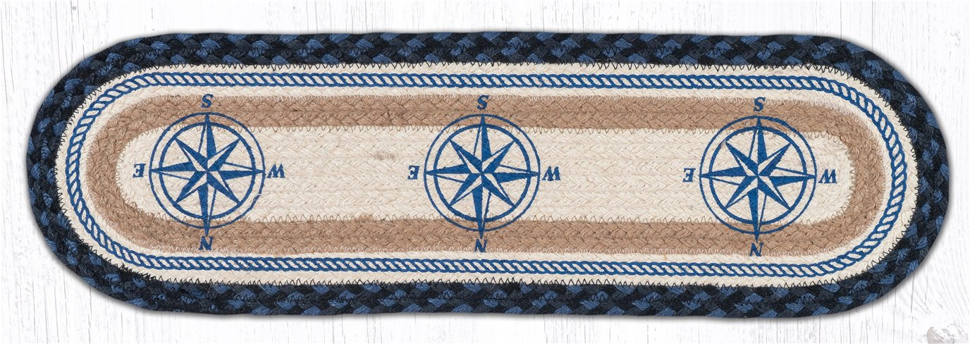 """Compass Rose Oval Braided Stair Tread 27""""x8.25"""""""