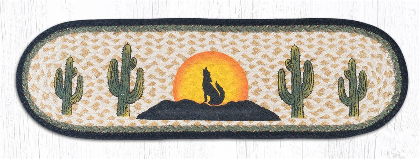 """Coyote Silhouette Oval Braided Stair Tread 27""""x8.25"""""""