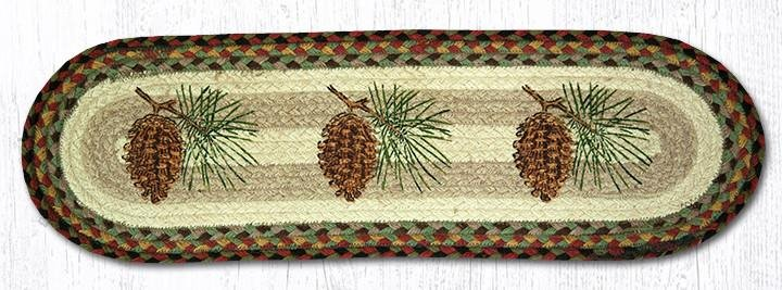 """Pinecone Oval Braided Stair Tread 27""""x8.25"""""""