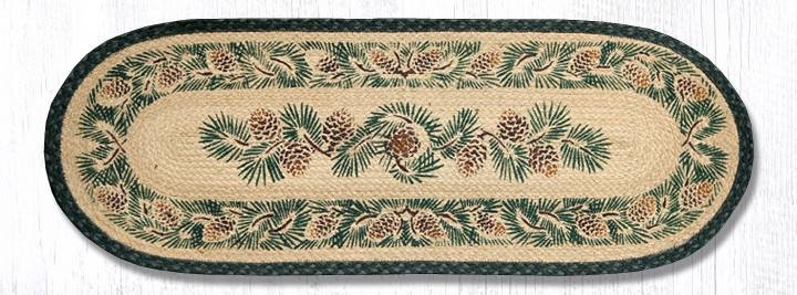"""Pinecone Oval Braided Table Runner 13""""x36"""""""