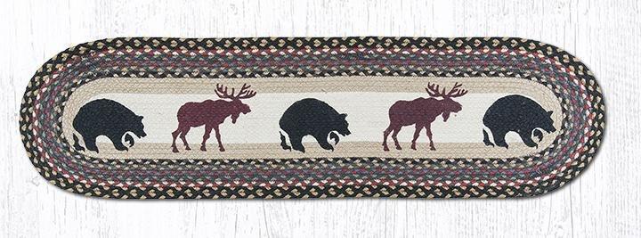 "Bear/Moose Oval Braided Runner 13""x48"""